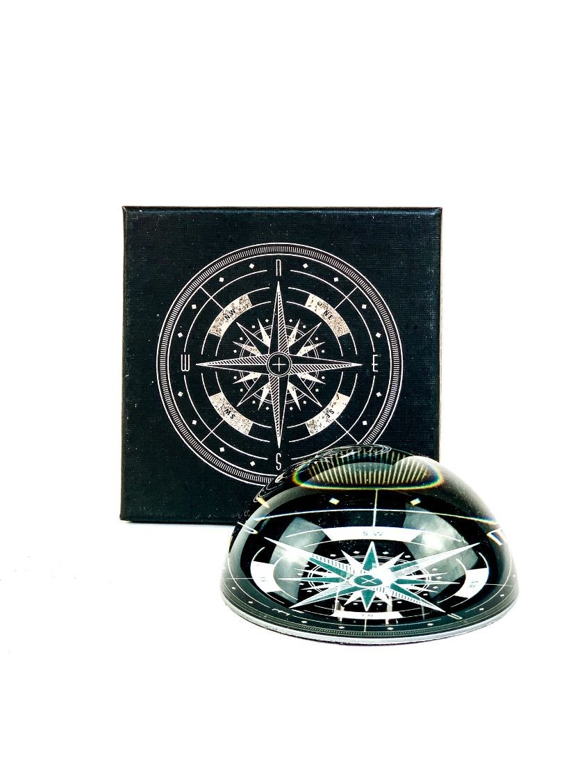 Glass paperweight with compass - office gift