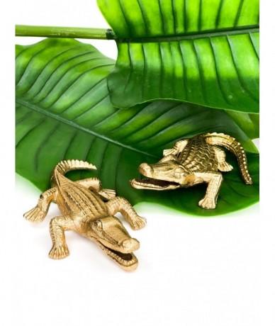14 cm hosszú kis arany krokodil