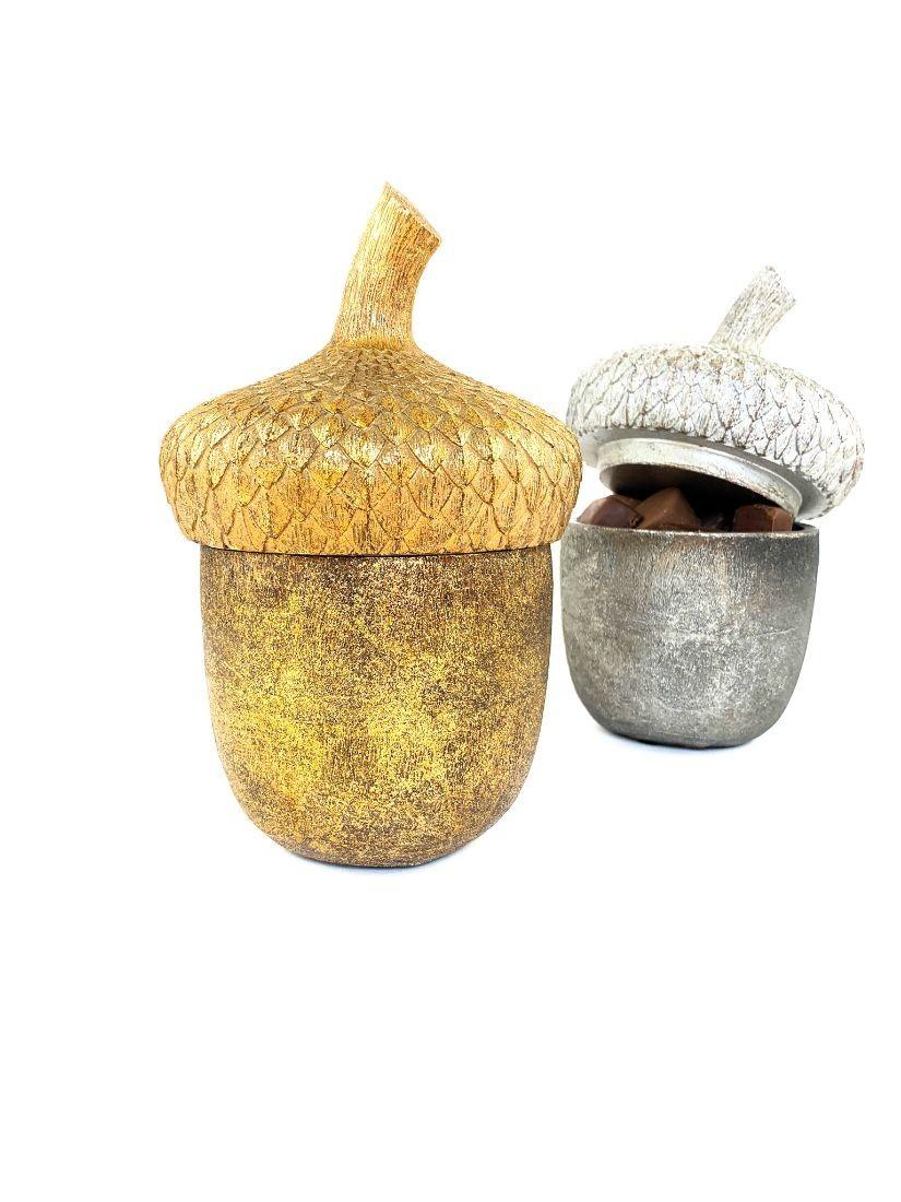Fából faragott gyönyörű makk. Bonbonier, ékszertartó egyben, arany és ezüst színben