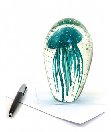 Glass paperweight jellyfish - home accessories