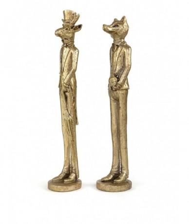 Cingár, elegánsan öltözött lakberendezési figurák