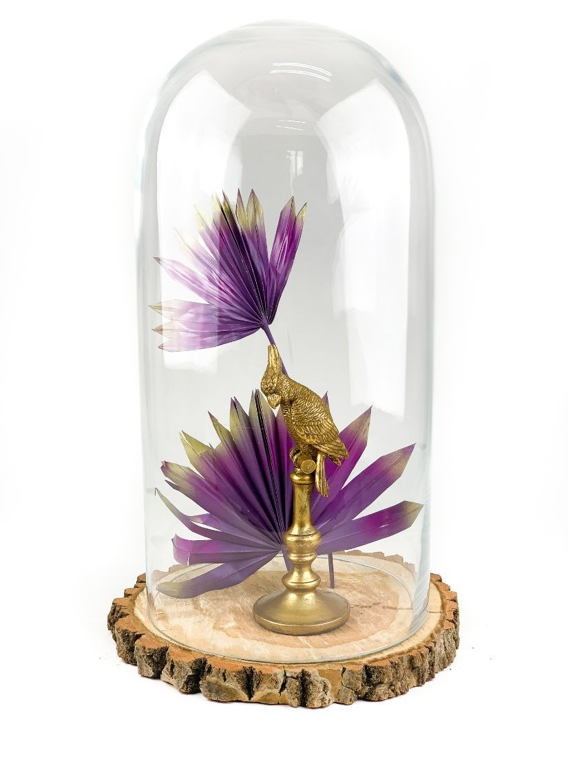 Gold parrot in glass dome