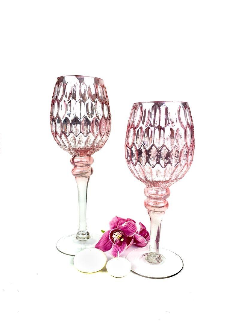 Pink üveg mécsestartó kehely 2 méretben