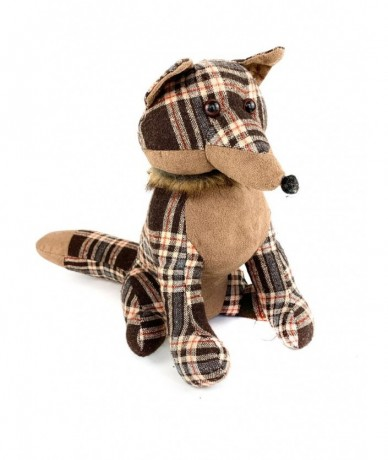 Retro checked fox doorstopper - gift for children