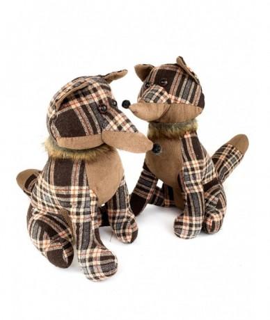 Retro checked fox doorstopper - gift for children