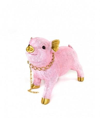 Pink-gold ceramic piglet - gift for pig lovers