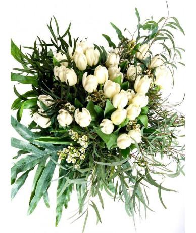 50stems of beautiful white  tulips