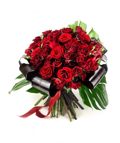 50 red roses  in a gigantic rose bouquet