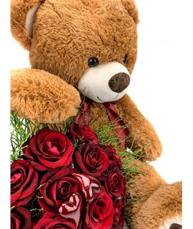 Elegant bouquet of 30 red flowers, with a sweet teddy bear