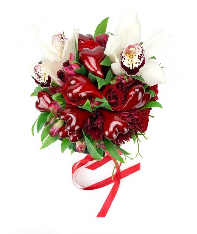 Round red bouquet with hearts and orchids