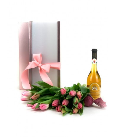Gift package with flowers and wine