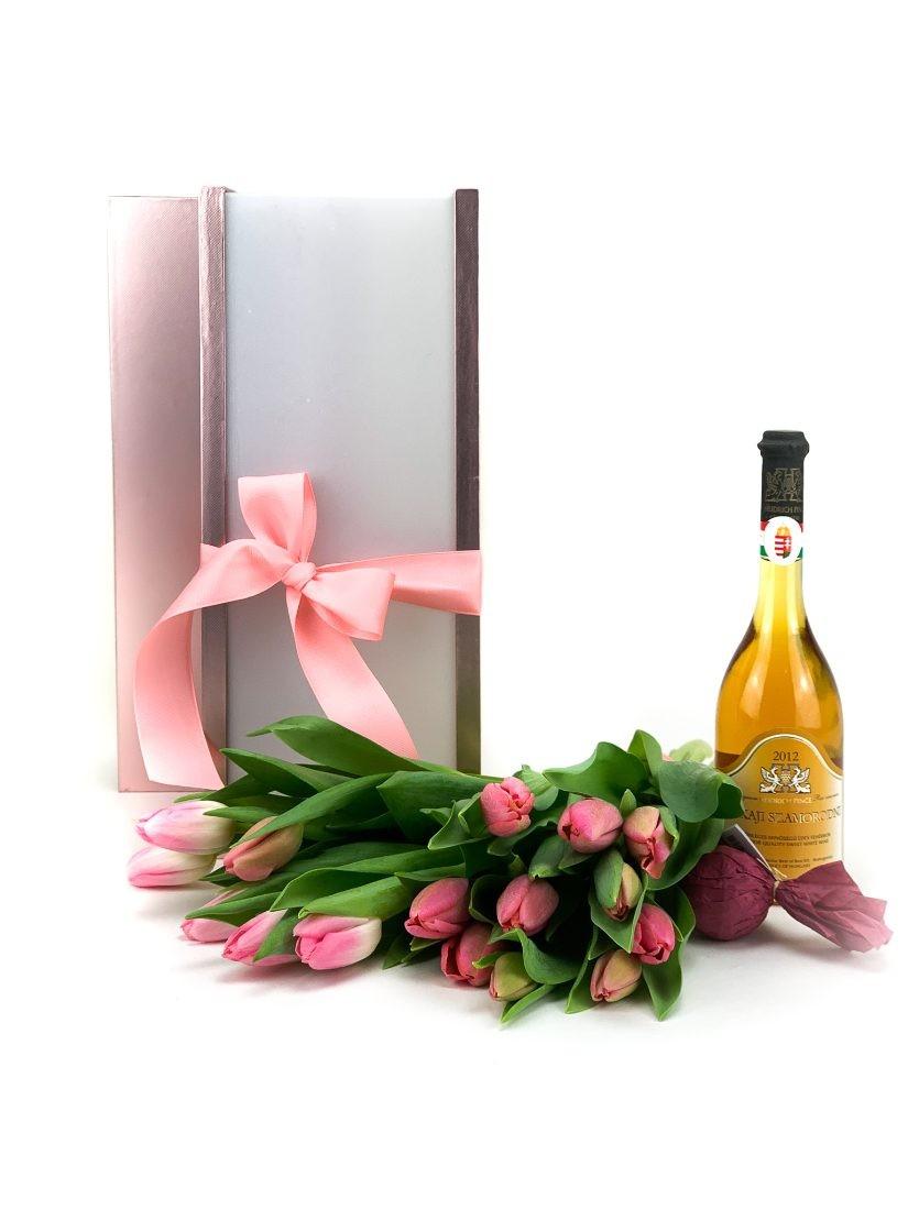 Ajándékcsomag virággal, borral - Fleurt ajándékküldés