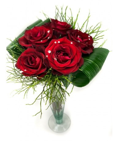 5 red roses with Swarovski crystals