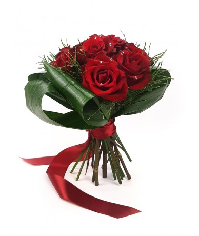 10 szál vörös rózsa Swarovski kristállyal ékesítve