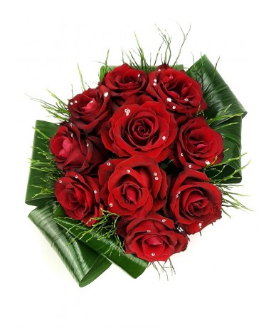10 red roses with Swarovski crystals