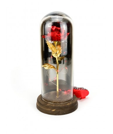 Lasting red roses under an elegant glass dome with led lights