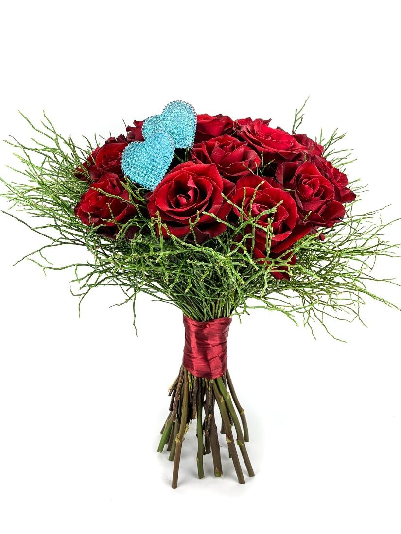 You and I red rose bouquet from red roses and with blue hearts