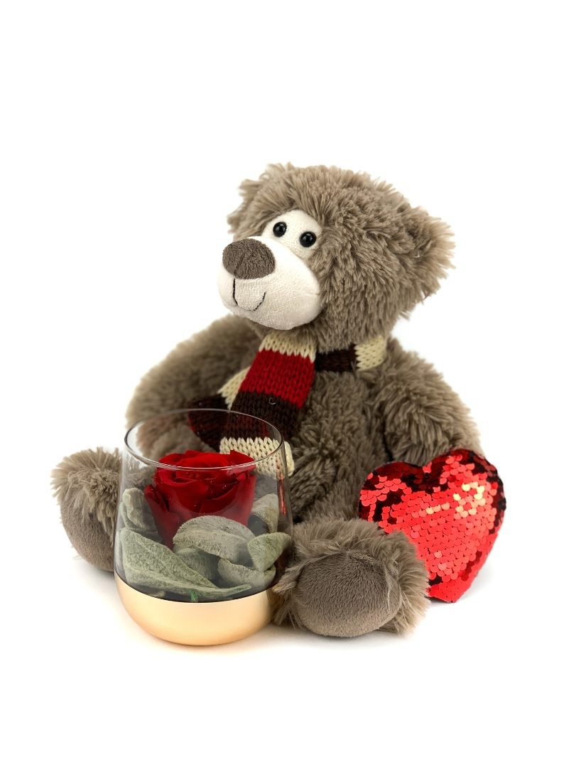 teddy bear with long lasting rose