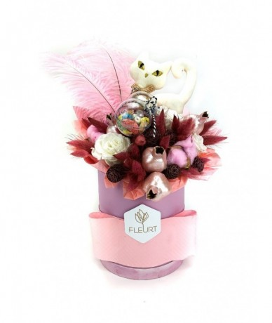 Cute pink gift box for those who love sweets and kitties