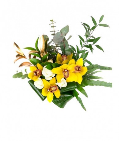 Yellow posy of orchids, roses paired with special greens