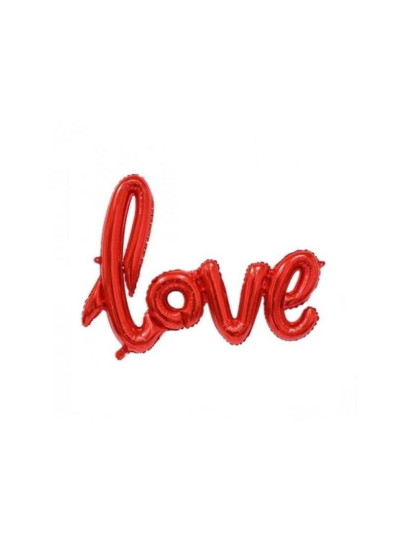 Love feliratú héliummal töltött piros metál lufi 60*75cm méretben - tökéletes szerelmi ajándék