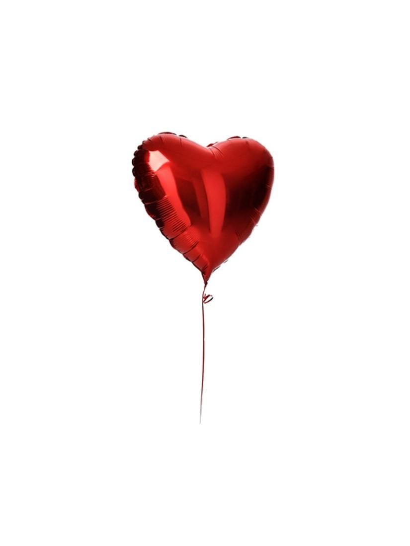 Szív alakú piros héliumos fólia lufi Valentin napra szerelmeseknek