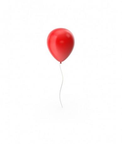Metálpiros héliummal töltött léggömb pálcán, átmérője 28cm