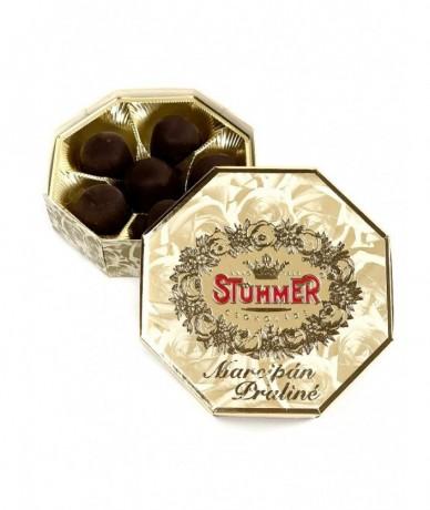 Arany színű, hatszögletes kis méretű Stühmer marcipán doboz desszert