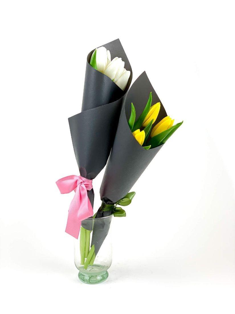 3 fresh tulips wrapped elegantly