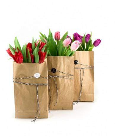 3 féle színű tulipánköteg egy-egy papírzacskóban