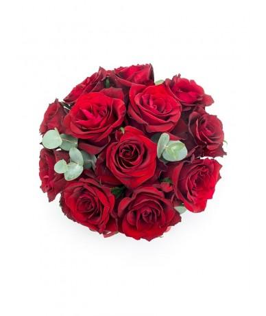 Elegáns fekete kerek virágdoboz vörös rózsákkal