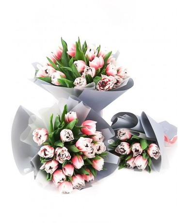 3 bouquets of tulips - one for granny, one for mom, one for daughter