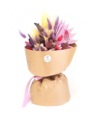 Lovely dried flower bouquet from pink and purple elements