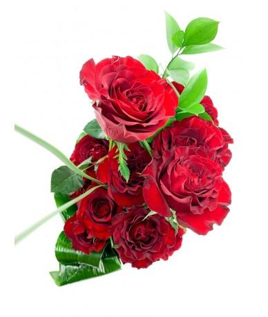20 szál égővörös rózsából készült elegáns tűzött kompozíció