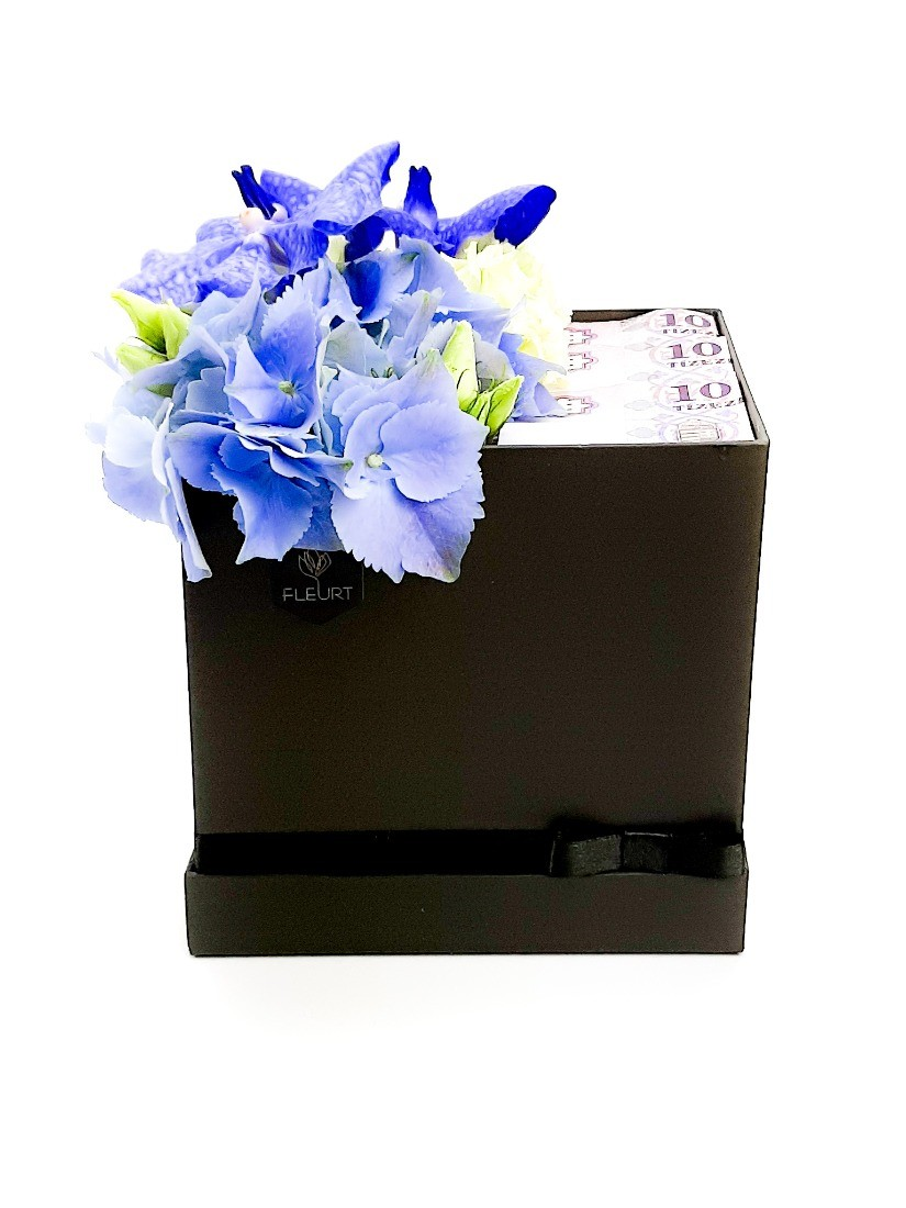 Stylish flower box with money for boys