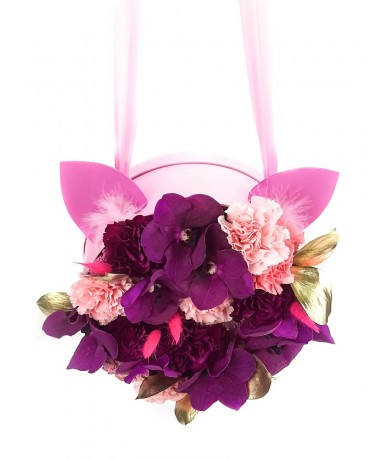 Pink-purple graduation bag for girls with cat ears
