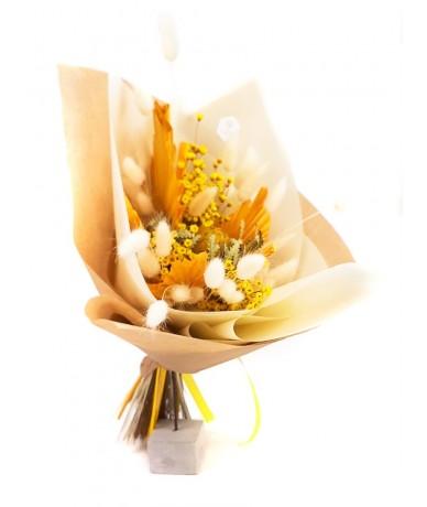 Golden yellow dried flower bouquet