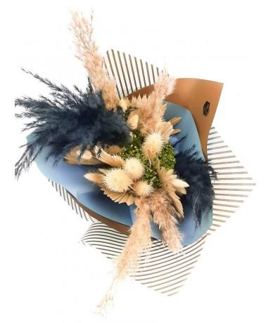 Kék színű elegáns szárazvirág csokor