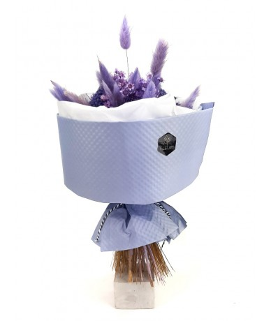 Kerek lila természetes szárazvirág csokor